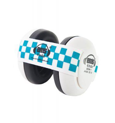 White Ems for Bubs Baby Earmuffs - Blue/White