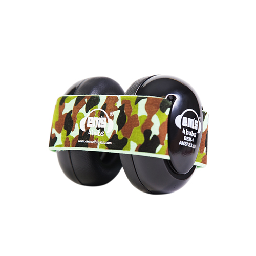 Black Ems for Bubs Baby Earmuffs - Army Camo