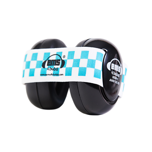Black Ems for Bubs Baby Earmuffs - Blue/White